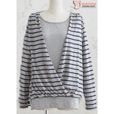 Nursing Tops - Long JP Stripe Grey