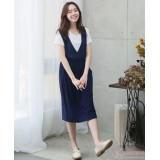 Nursing Dress - 2pcs Deep V Dark Blue