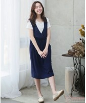Nursing Dress - 2pcs Deep V Dark Blue