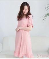 Nursing Dress - Smooth Polka Pink