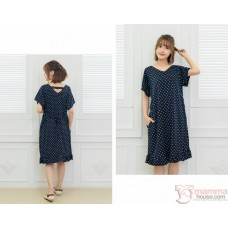 Nursing Dress - Smooth Polka Dark Blue