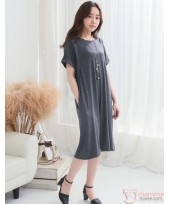 Nursing Dress - Sleeves Fold Grey