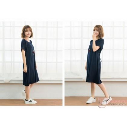 Nursing Dress - Sleeves Fold Dark Blue