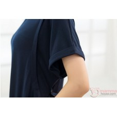 Nursing Dress - Sleeves Fold Dark Blue