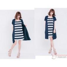 Nursing Dress - Forge 2pcs Stripe Dark Blue