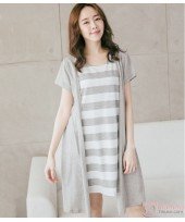 Nursing Dress - Forge 2pcs Stripe Grey