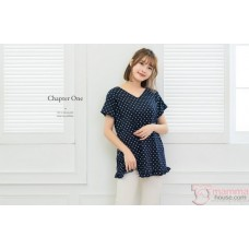 Nursing Tops - Polka Smooth Dark Blue