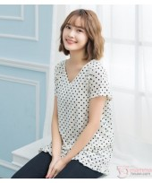 Nursing Tops - Polka Smooth White