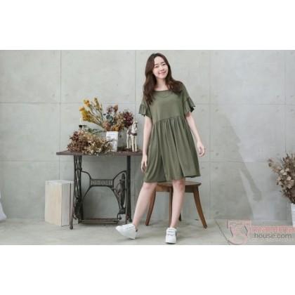 Nursing Dress - Flora Sleeves Dark Green
