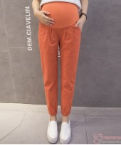 Maternity Pants - Working Linen Orange Red