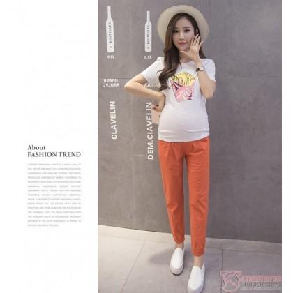 Maternity Pants - Working Linen Orange Red