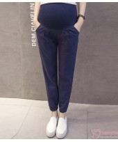 Maternity Pants - Working Linen Dark Blue