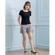 Maternity Shorts - Side Button Grey