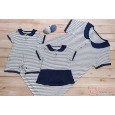 Nursing Set - Stripe Navy (plus baby romper)