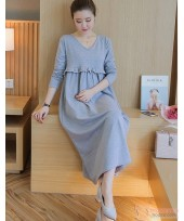 Nursing Dress - Flora Grace Long Grey