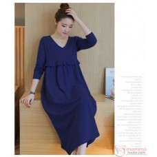 Nursing Dress - Flora Grace Long Dark Blue
