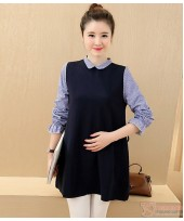 Maternity Blouse - Little Collar Dark Blue