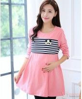 Nursing Tops - Long Pearl Stripe Pink