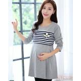 Nursing Tops - Long Pearl Stripe Grey