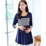 Nursing Tops - Long Pearl Stripe Dark Blue