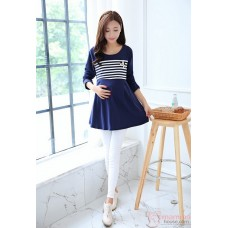 Nursing Tops - Long Pearl Stripe Dark Blue