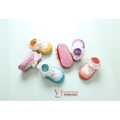 Baby Shoes - Lace Polka Socks Style