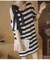 Nursing Tops - Stripe Ribbon Black White