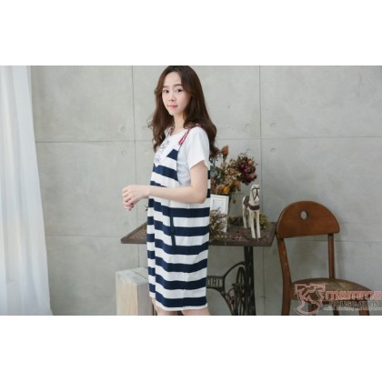 Nursing Dress - 2pcs Strap Dress Dark Blue