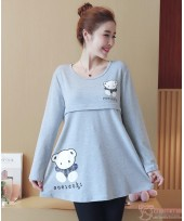 Nursing Tops - Long Bear Grey