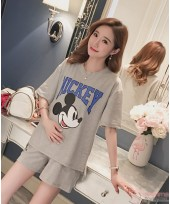 Maternity Set - 2pcs Mickey Grey Short Sleeves