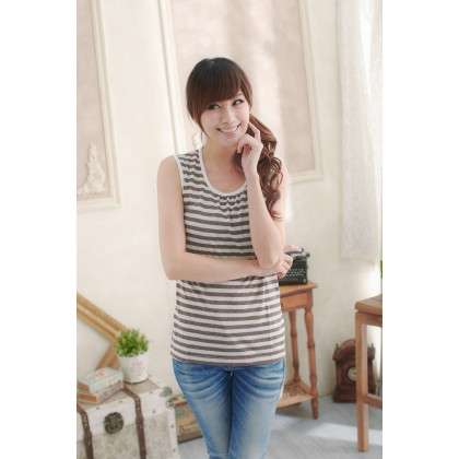 Nursing Singlet - Stripe Light Brown