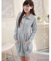 Nursing Dress - Long 2 Pocket Grey