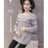 Maternity Blouse - Wave Line Grey