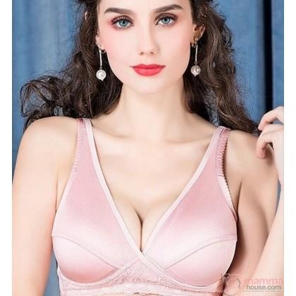 X Nursing Bra - Cross Silk Pink