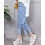 Maternity Jeans - Straight Fold Light Blue
