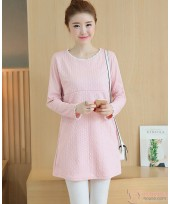 Nursing Tops - Long Knitted Pink