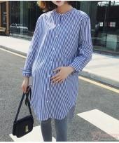 Maternity Blouse - Pocket Stripe Blue