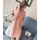 Maternity Dress - Side Button Pink