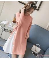 Maternity Dress - Side Button Pink
