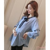 Maternity Blouse - Black Ribbon Blue