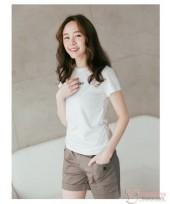 Maternity Shorts - Pocket Button Khaki Grey