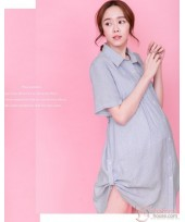 Nursing Dress - Side String Stripe Blue