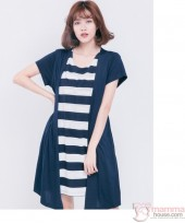 Nursing Dress - Forge 2pcs Stripe Dark Blue