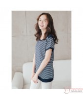 Nursing Tops - Tiny Stripe Dark Blue