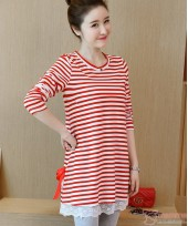 Nursing Tops - Long Stripe Ribbon Red