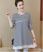 Nursing Tops - Long Stripe Ribbon Dark Blue