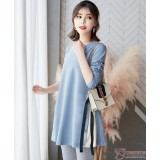 Maternity Blouse - Ribbon Side Ribbon Blue
