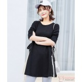 Maternity Blouse - Ribbon Side Ribbon Black