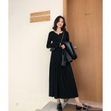 Maternity Dress - Long Cotton Black