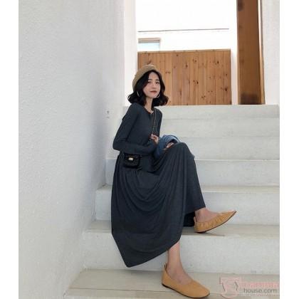 Maternity Dress - Long Cotton Dark Grey